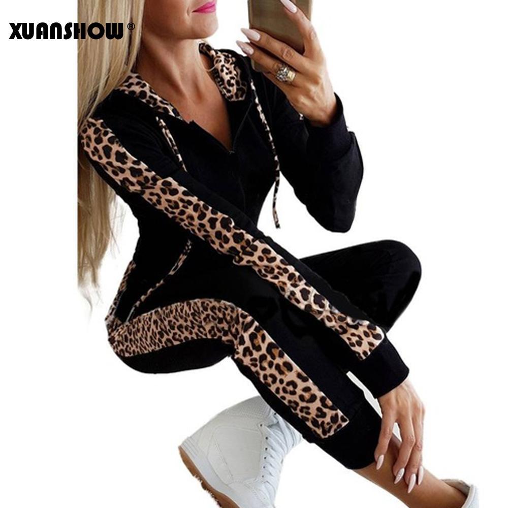 XUANSHOW Herbst Winter Mode Trainingsanzug Frauen Splice Fleece Leopard Print Mantel mit Kapuze Zwei Stücke Set Hoodies Lange Hosen Anzug