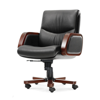 Wood Armrest Executive Chair Genuine Leather Reclining Computer Chairs High Quality Leather Boss Chair for Office Furniture