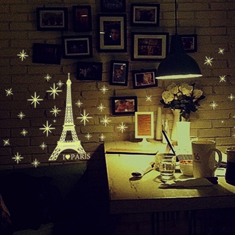 """/""""Glows in the dark/"""" Paris Wall Decal Decor For Living room"""