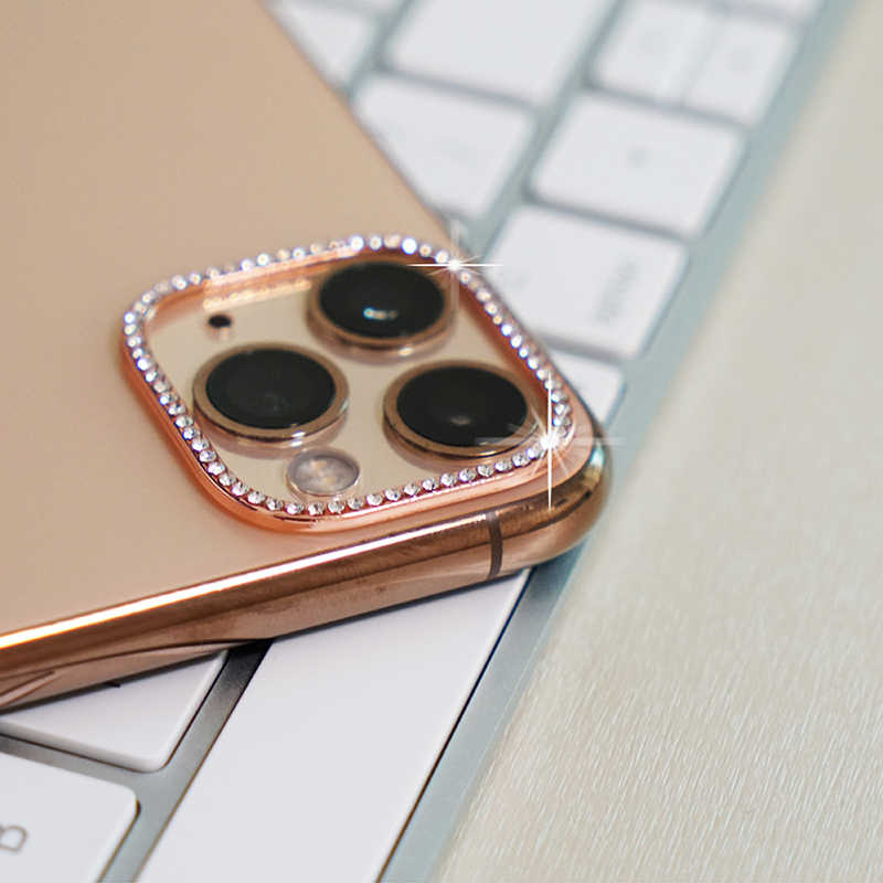 Mewah Rhinestone Belakang Kamera Belakang Lensa Bersinar Bling Cover Perlindungan untuk Apple iPhone 11 iPhone 11 Pro Max Metal Case