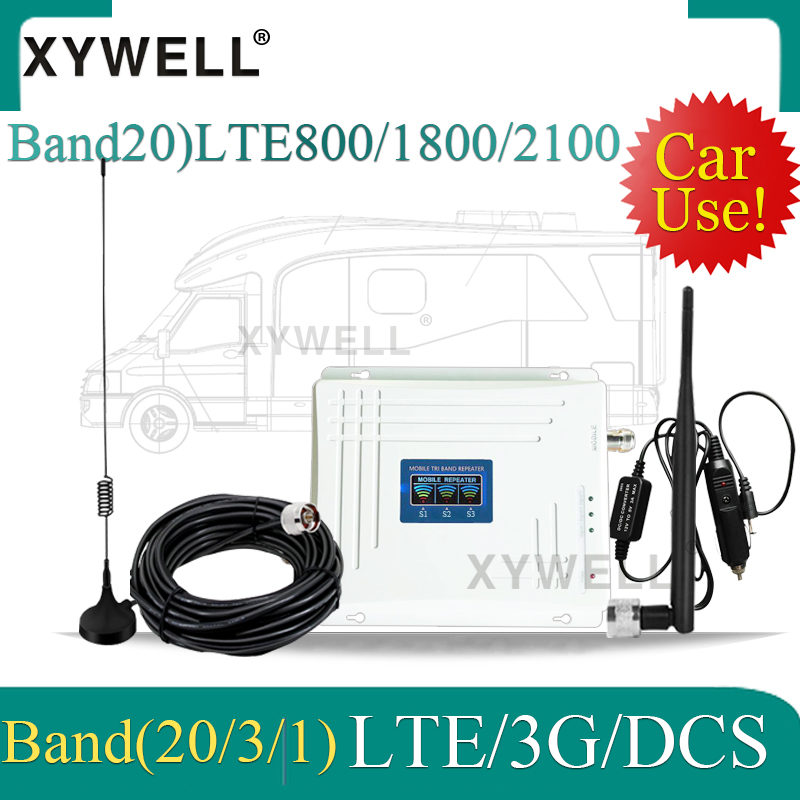 Car Use !!Band20)LTE 800/2100/1800Mhz Tri-Band Cellular Amplifier 4G Mobile Signal Booster WCDMA LTE GSM Repeater 2g 3g 4g