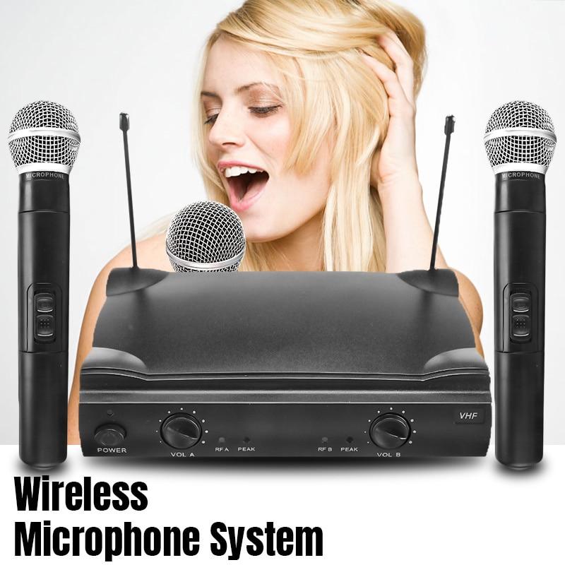 Double système de micro professionnel de Microphone tenu dans la main sans fil de VHF avec le récepteur pour le Studio de KTV de partie de Microphone de Kareoke