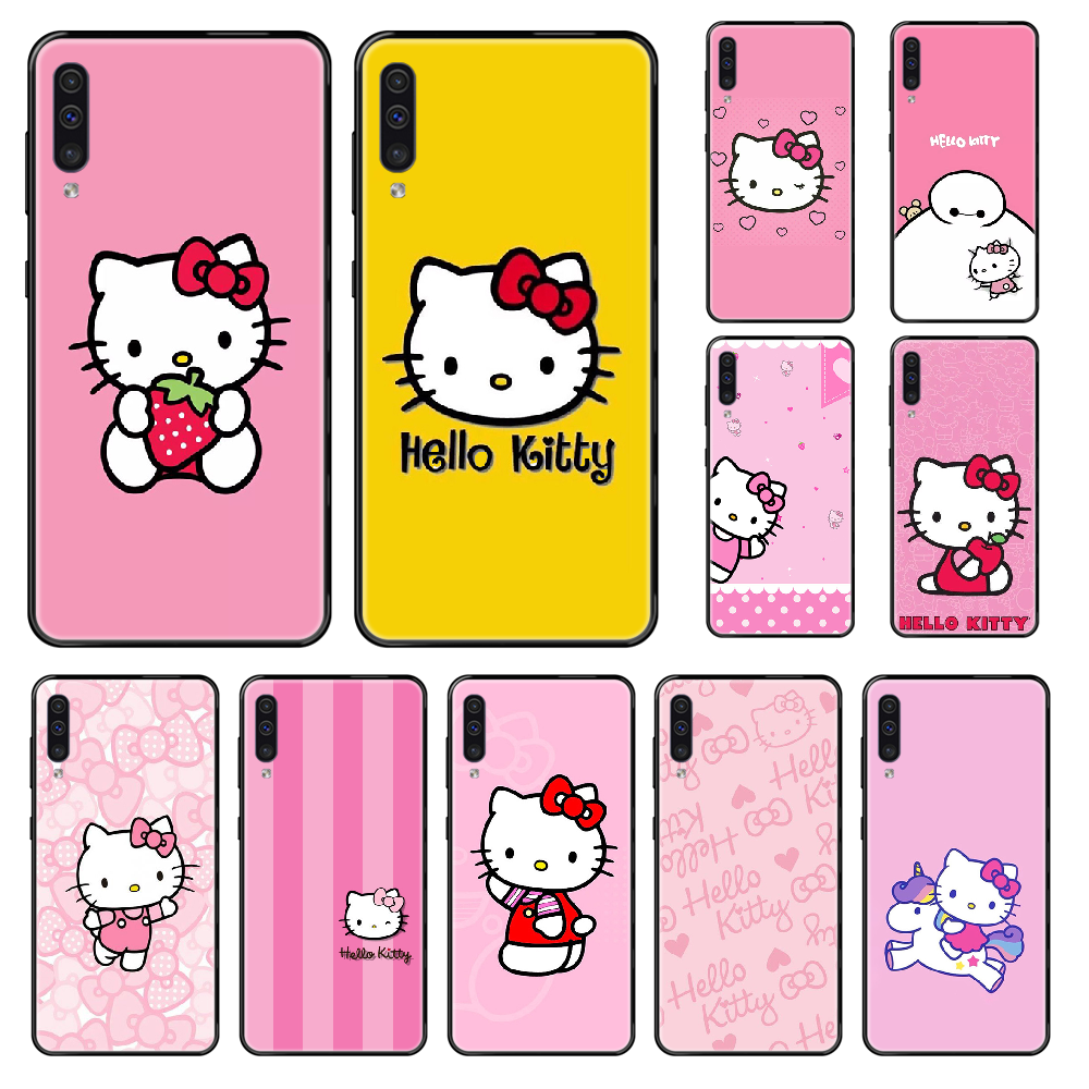 Hello Kitty Cute Cat Phone case For Samsung Galaxy A 3 5 6 7 8 20 40 50 <font><b>70</b></font> 71 E S Plus 2016 2017 <font><b>2018</b></font> black 3D cell cover image