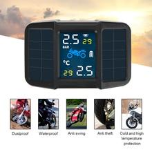 Usb sistema de alarme monitoramento temperatura carregamento solar do motor pressão dos pneus com 2 sensores externos da motocicleta tpms