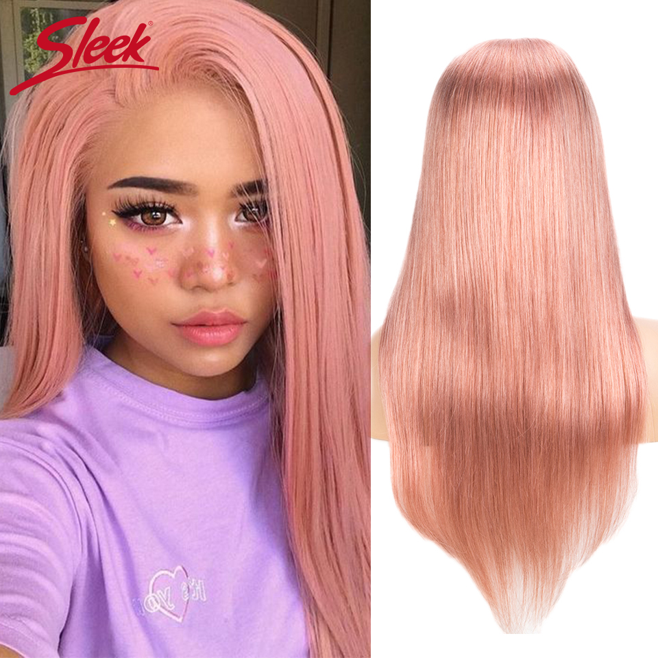 Sleek Brazilian Straight 4x4 Lace Human Hair Wigs 10-22 Inch S Pink 8 Remy Long Wigs 150% Density Pre Plucked With Baby Hair