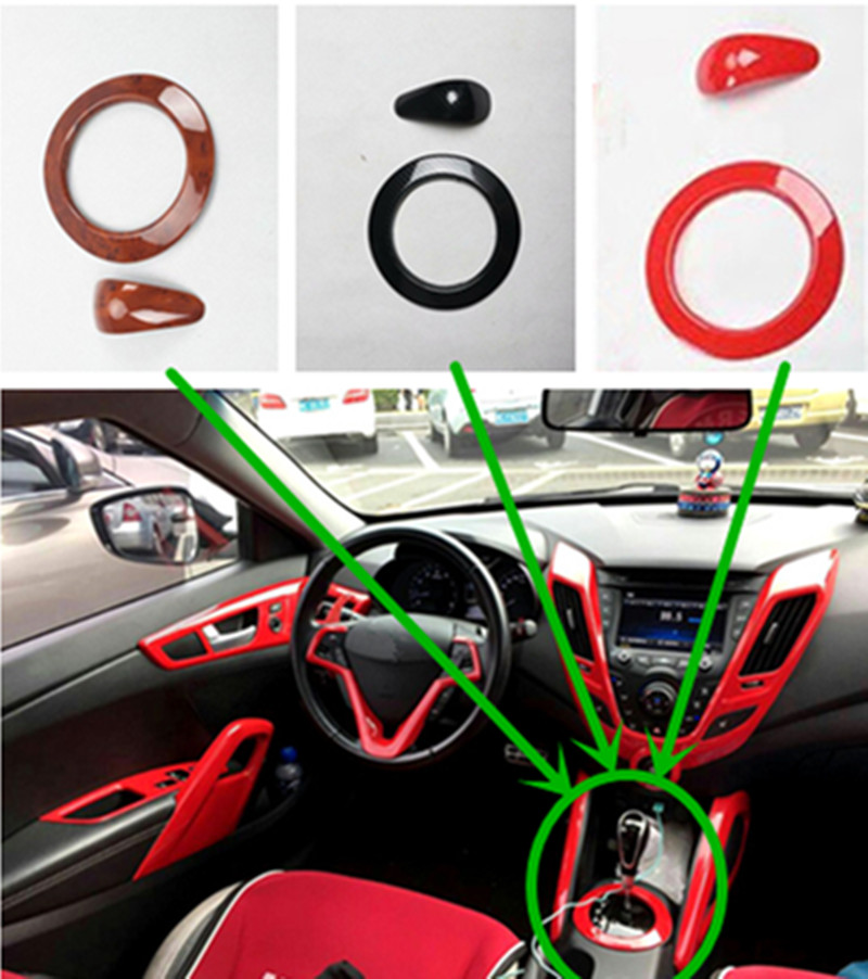 2pcs/lot Car Stickers ABS Carbon Fiber Grain Gear Panel Decoration Cover Stall Decorative Sticker For 2011-2016 Hyundai Veloster