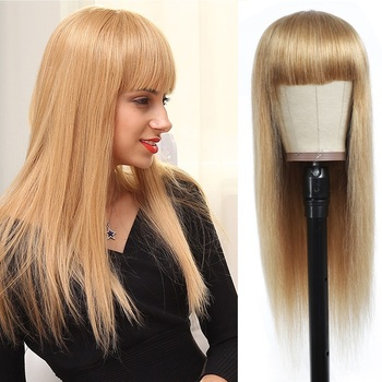Honey Blonde Brazilian Straight Human Hair Wigs With Bangs IJOY Long Full Machine Made Non Lace For Black Women - discount item  49% OFF Human Wigs( For Black)