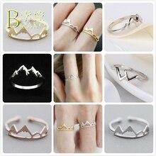 BOAKO Mountain Ring Adjustable Rings For Women Wedding Travel Inspirational Finger Girl Rose Gold Range anillos B5