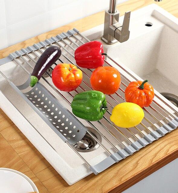 Multifunction Dish Drying Rack Sink Drain Rack Shelf Basket Bowl Sponge Holder Dish Drainer Dryer Tray Kitchen Storage Organizer 2