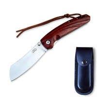 Cuchillo plegable de bolsillo para acampar, cuchillo de supervivencia, herramientas de caza, mango de madera, AUS-8, acero, 58hr para hombres, senderismo, aventura al aire libre