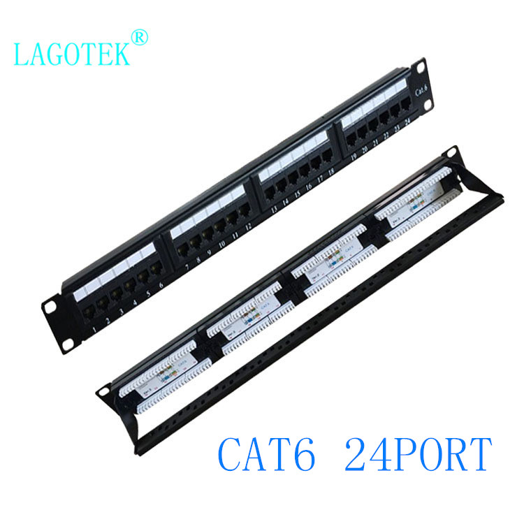 Patch-Panel Cable-Frame Faceplate UTP Keystone CAT6 24-Ports Rj45 1U title=