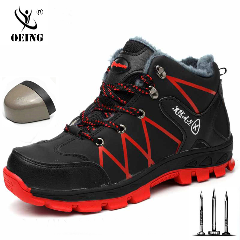 Waterproof Winter Safety Shoes Boots For Men Casual Snow Warm Fur Work Indestructible Boots Steel Toe Men's Boots Black 36-476