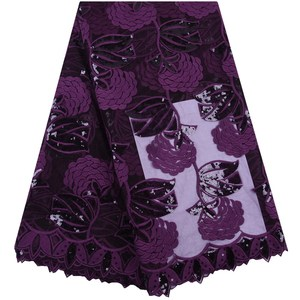 Image 3 - Latest Wine Red African Embroidery Tulle Lace Fabric 2019 High Quality French Milk Silk Lace Fabric With Sequins 5 Yards 1684