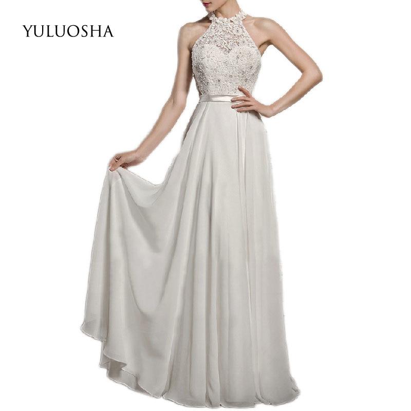 YULUOSHA Evening Dress Evening Gowns for Women Halter Chiffion A-Line Sleeveless Long Formal Dresses Vestidos De Fiesta De Noche