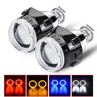 DERI New 2.5 inch BI Xenon Universal projector lens with angel eyes For H1 Led/HID Xenon bulb Kit with H4 H7 Headlight Adapters