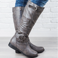 2020 Hot Western Knee High Boots Women Leather High Boots Autumn Winter Women Shoes Plus Size Female Flat Heel Boot Buckle Strap