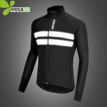 цена на WOSAWE Winter Thermal Fleece Cycling Jackets Men Windproof Reflective Running Windbreaker Coats Heated Bike Jerseys Jacket