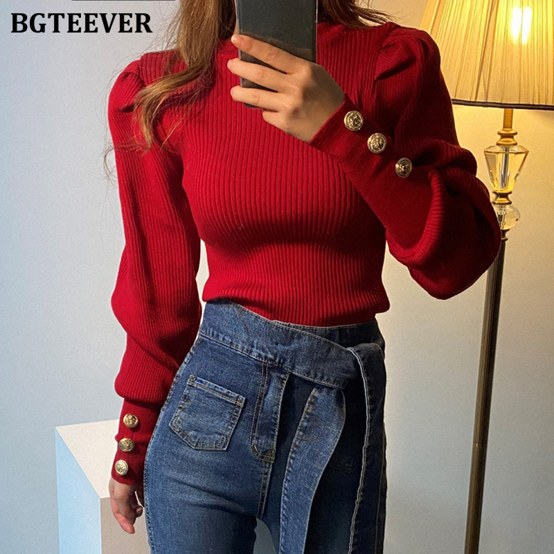BGTEEVER Fashion O-neck Elastic Slim Female Pullover Sweater Lantern Sleeve Buttons Women Jumpers Knit Tops Winter 2019