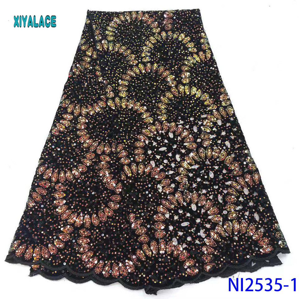 2019 High Quality African Lace Fabric Nigerian Latest Lace Sequins French Lace Fabric Bridal Lace For Party Dress YANI2535B-1