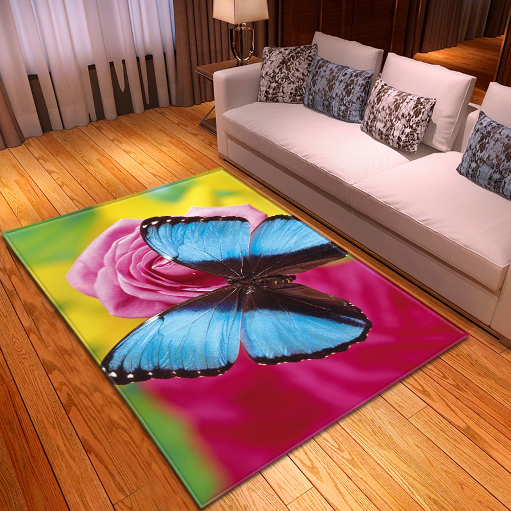 Creative Butterfly 3D Print Carpets For Living Room Bedroom Area Rug Hallway Doormat Bathroom Kitchen Absorb Water Anti-Slip Mat