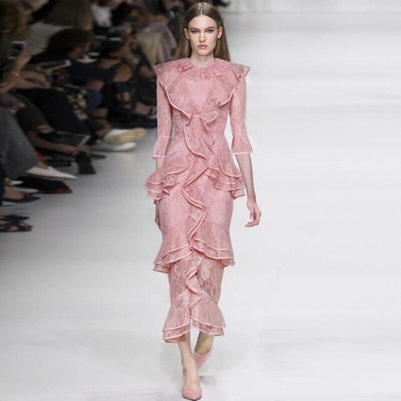 Luxe piste robe 2019 nouveauté printemps été haute qualité femmes élégantes Designers à volants rose dentelle Slim Fit dames Vestido