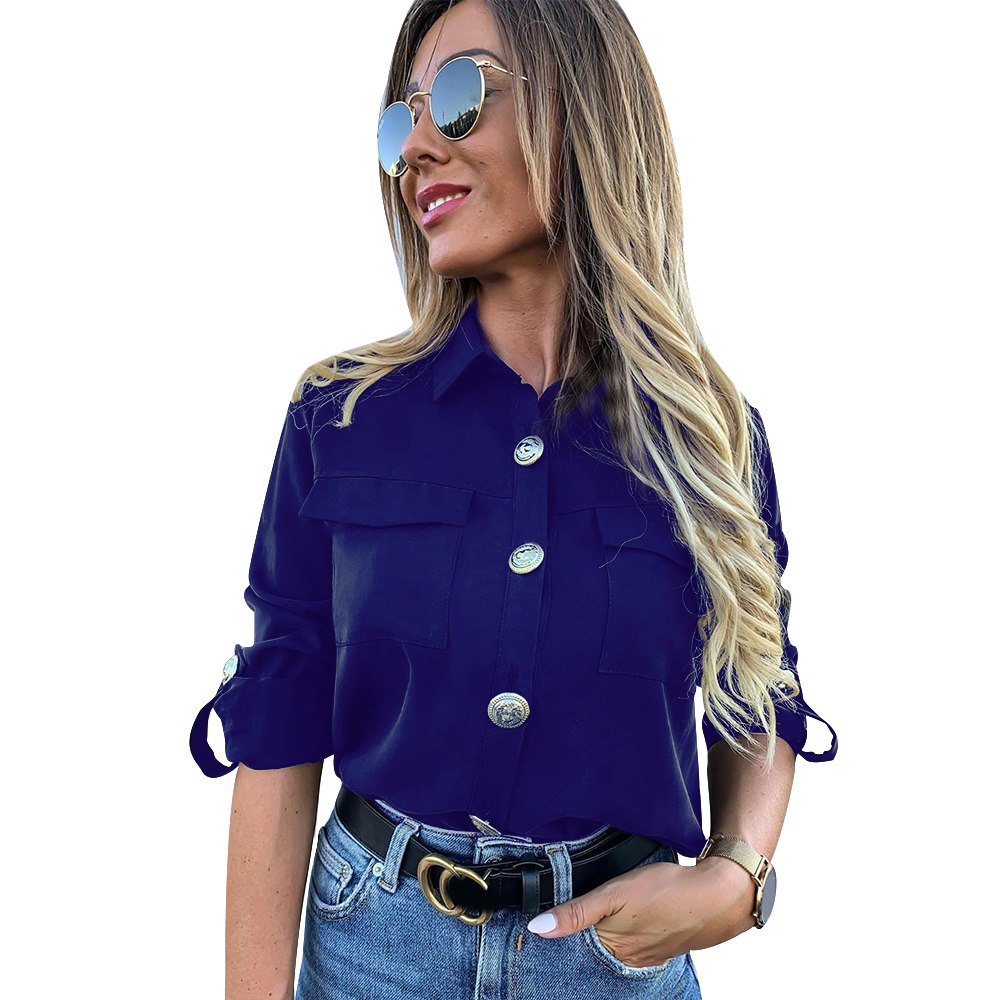 H5f8c6e2a0cad402d93614d46c40c767dF - Vintage Long Sleeve Pocket Shirt For Women Autumn Tops Blouse Turn Down Collar Khaki White Black Shirt Fashion Female Blusas D25