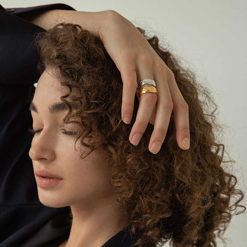 Peri'sBox 3 ขนาดกว้าง Textured ไทเทเนียมแหวนเหล็กไม่สม่ำเสมอขอบเรขาคณิตแหวนสำหรับสตรีและผู้ชาย VINTAGE Minimalist แหวน