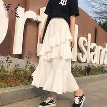 Irregular Ruffled Solid Color Pleated Fishtail Long Skirt Korean Fashion Harajuku Y2k Midi Skirts 2021 Wild Elastic High Waist