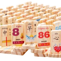 Wooden Domino Building Blocks of Children Educational Force Toy 3 4 5 6 Year Old Card Code 100 Tablets GIRL'S And BOY'S