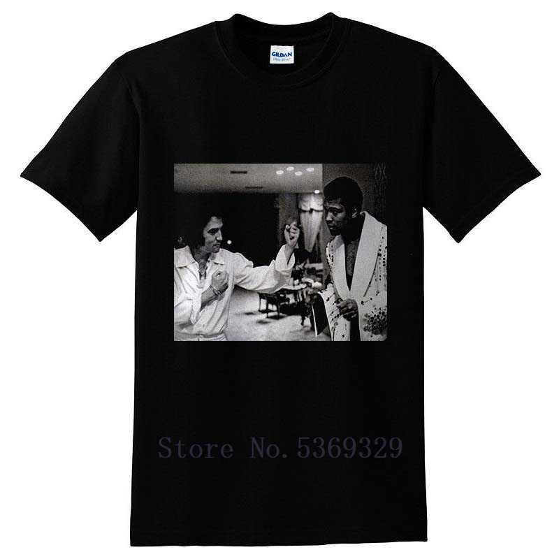 Винтажная редкая черная футболка с надписью «Muhammad Ali and Elvis Presley», футболки с круглым вырезом и короткими рукавами