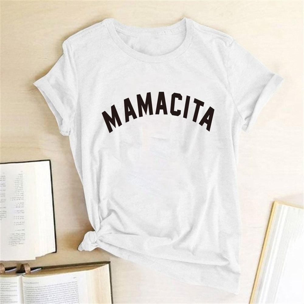Amacita carta impressa feminina verão engraçado camiseta mama vida camiseta camisas femla presente para mãe espanhol topos feminino 2020 dropshipping