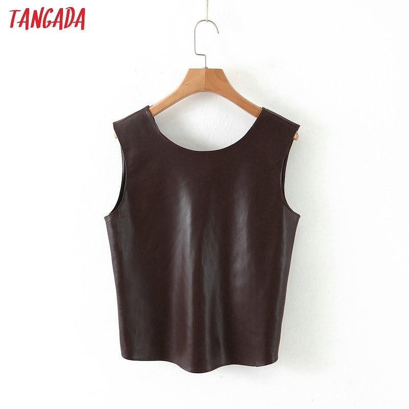 Tangada Women Retro Pu Leather Chocolate Crop Blouse Sleeveless 2020 Summer Chic Female Sexy Slim Shirt Tops QB137
