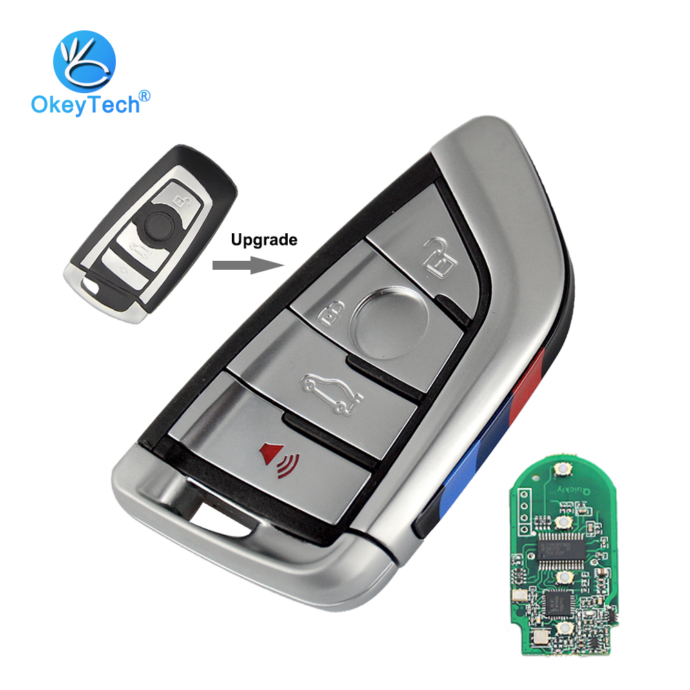 OkeyTech Remote Smart Key for Bmw 1 3 5 7 Series E46 X5 X6 315/433/868 Mhz Battery Replacement Keyless Entry Card Insert Blade