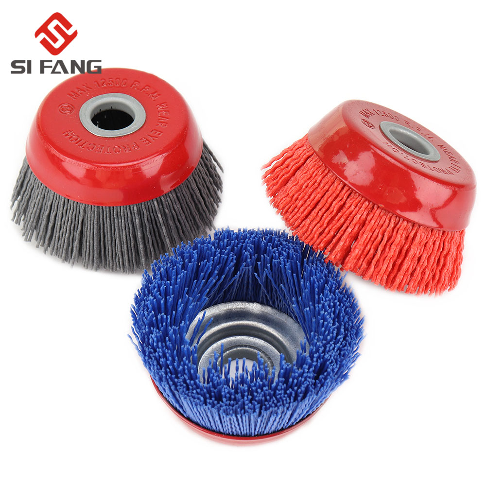 80mm Cup Nylon Abrasive Brush Wheel Pile Polymer-abrasive For Angle Grinder Tool