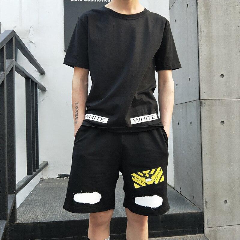 New Style Hong Popular Brand Sports Set Short Sleeve T-shirt Summer Wear Korean-style Trend Casual Two-Piece Set Summer