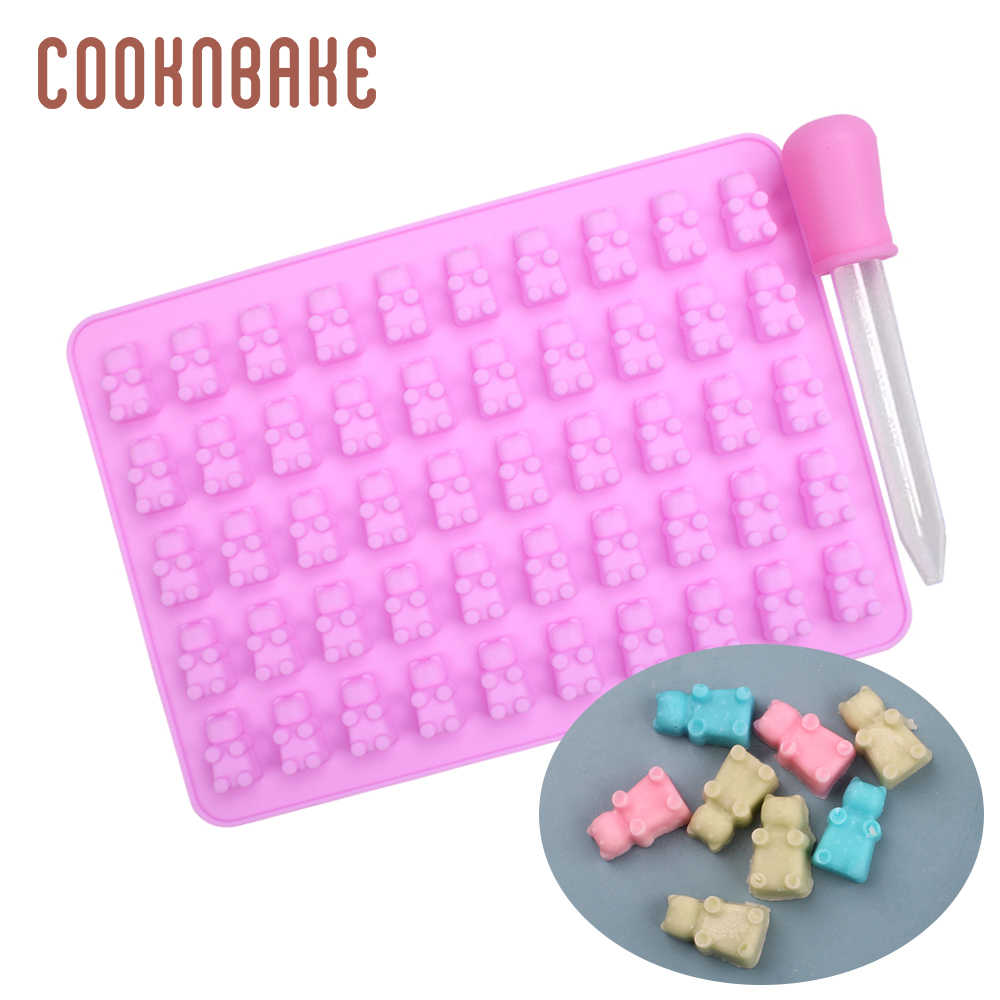 COOKNBAKE gummy bear silicone mold for candy chocolate dinosaur sugar gummy form cake decoration tool with dropper diy christmas
