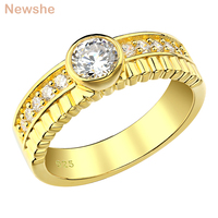 Newshe 925 sterling Silver Yellow Gold Color Ehgagement Ring For Women Wedding Jewelry 0.45Ct White Round AAA Cubic Zirconia