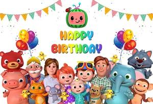 Sensfun Cocomelon Семейные фотофоны флаги воздушные шары Дети День рождения фоны для фотостудии 7x5ft винил