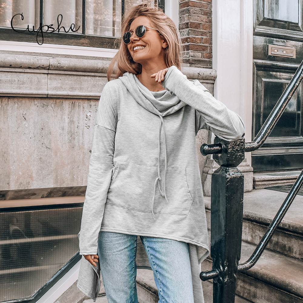CUPSHE Grey High Low Pocket Drawstring Long Sleeve Hoodie Woman Casual Sweatshirts Pullovers Tops 2020 Spring Autumn Sportswears