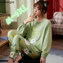 Пижамный комплект Женский с принтом, свободный хлопковый пижамный комплект для девушек, дышащая Милая модная одежда в Корейском стиле, боль...