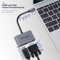 QGeeM Adaptador USB C HDMI VGA para Xiaomi Notebook Laptops Tablets Macbook Pro Air para Samsung S10 / S9 / S8 Huawei Mate 30 / P30 P20 P10 Pro Tipo C a HDMI Cable 4K Convertidor USB Tipo C VGA Splitter Hub Dock