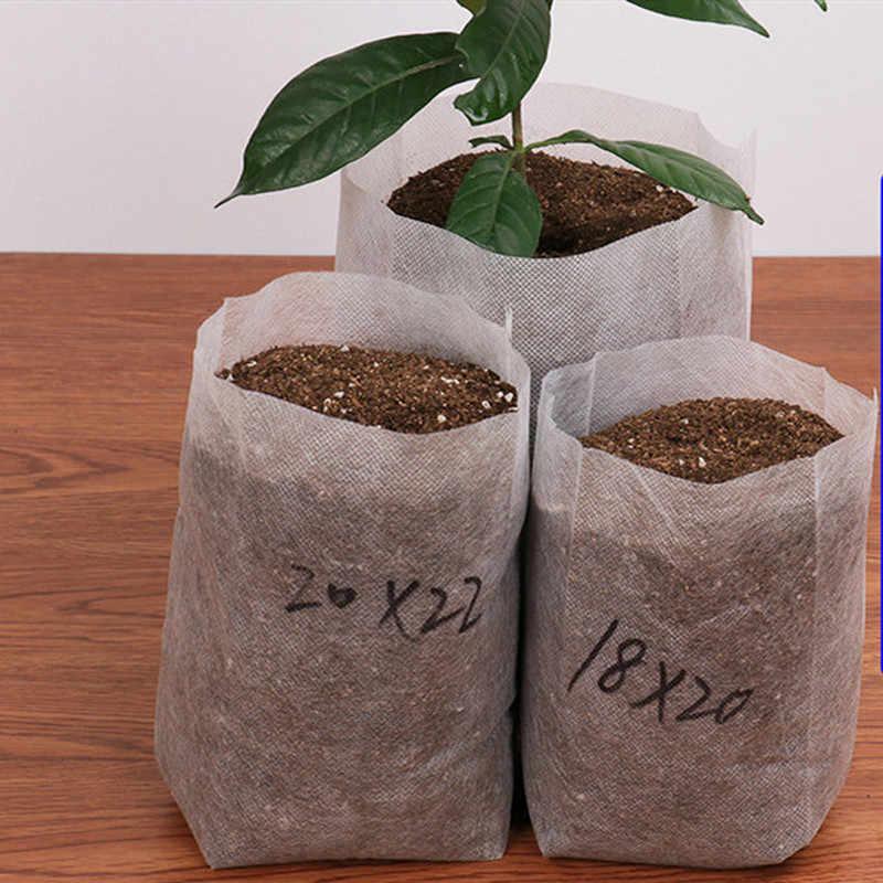 Novo 100 pces mudas de plantas berçário sacos orgânicos biodegradáveis crescer sacos de tecido eco-friendly ventilar crescente plantio sacos