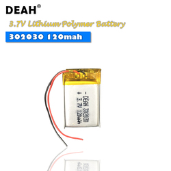 3.7V Lipo cells 302030 120mah Lithium Polymer Rechargeable Battery For Reading pen Smart bracelet MP3 MP4 MP5 bluetooth headset