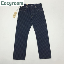 Cozyroom Wabash Mens Pants Railway Striped Trousers Selvage Cargo Straight Pants 14.5oz Vintage Bottoms W36