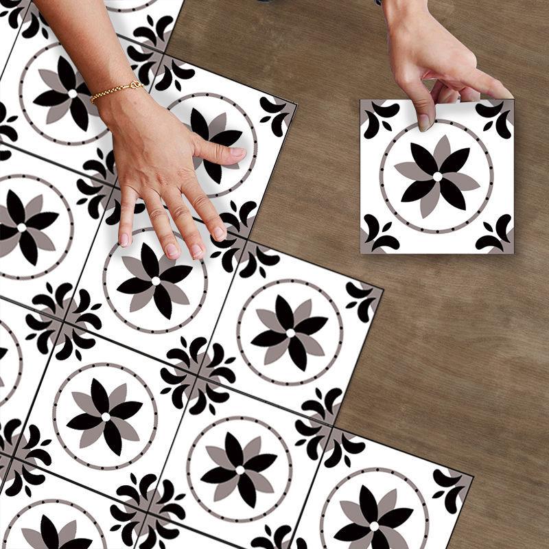 10Pcs Bathroom Kitchen Bedroom Floor Stickers Self-Adhesive Wear-Resistant Waterproof Non-Slip Stickers Toilet Tile Stickers