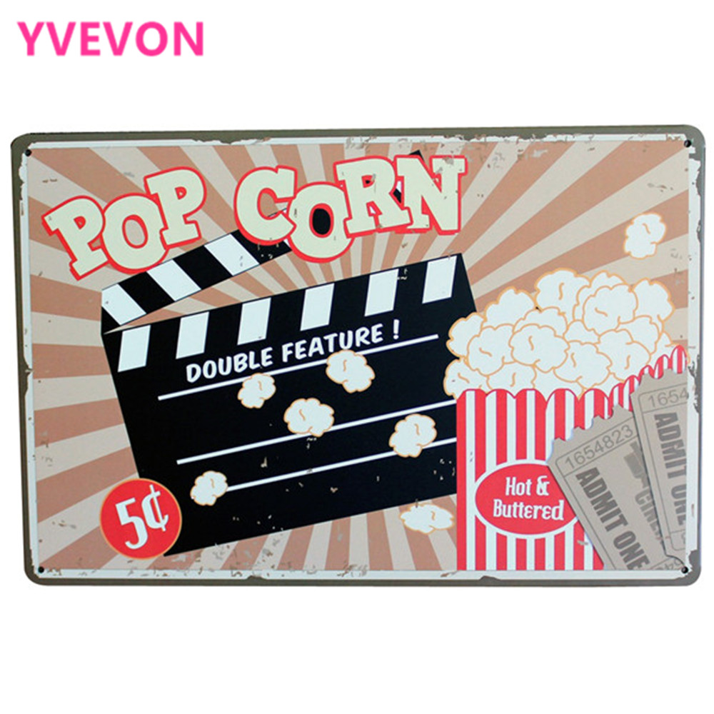 POP CORN DOUBLE FUTURE Metal Tin Sign Vintage food plague for film movie theatre coffee shop wall painting decor LJ7-12 20x30cm