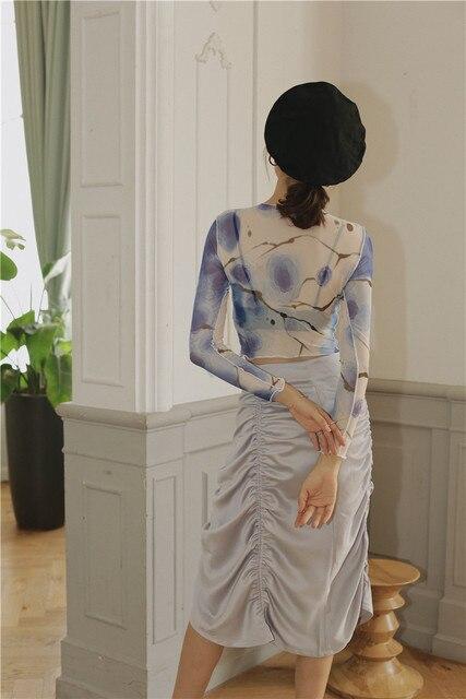 CHEERART Mesh Crop Top Long Sleeve T Shirt Women Printed Tshirt Transparent Ladies Tight Top Patchwork Summer Fashion 2020 6