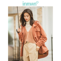 INMAN Spring Autumn Fashion Contrast Hooded Fashion Personality Drop shoulder Sleeve All Matched Women Short Coat