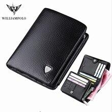 Willianmpolo genuine new leather three fold design men's Wal