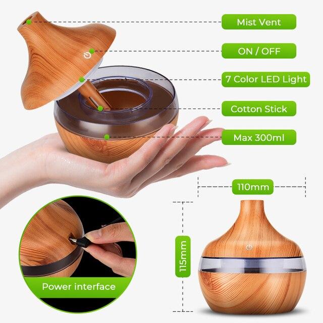 Saengq umidificador elétrico essencial aroma difusor de óleo ultra-sônico madeira grão umidificador ar usb mini névoa fabricante luz led 4